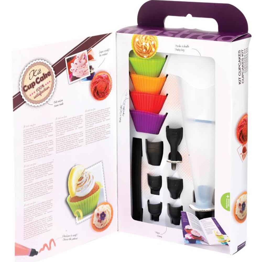 法國mastrad 八入矽膠杯子蛋糕模具禮盒組含擠花袋