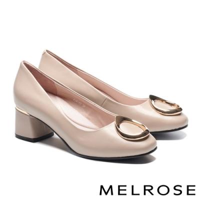 高跟鞋 MELROSE 知性典雅金屬釦飾羊皮方頭高跟鞋-杏