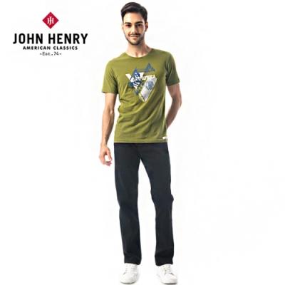 【JOHN HENRY】幾何拼接印花短袖T恤-兩色選