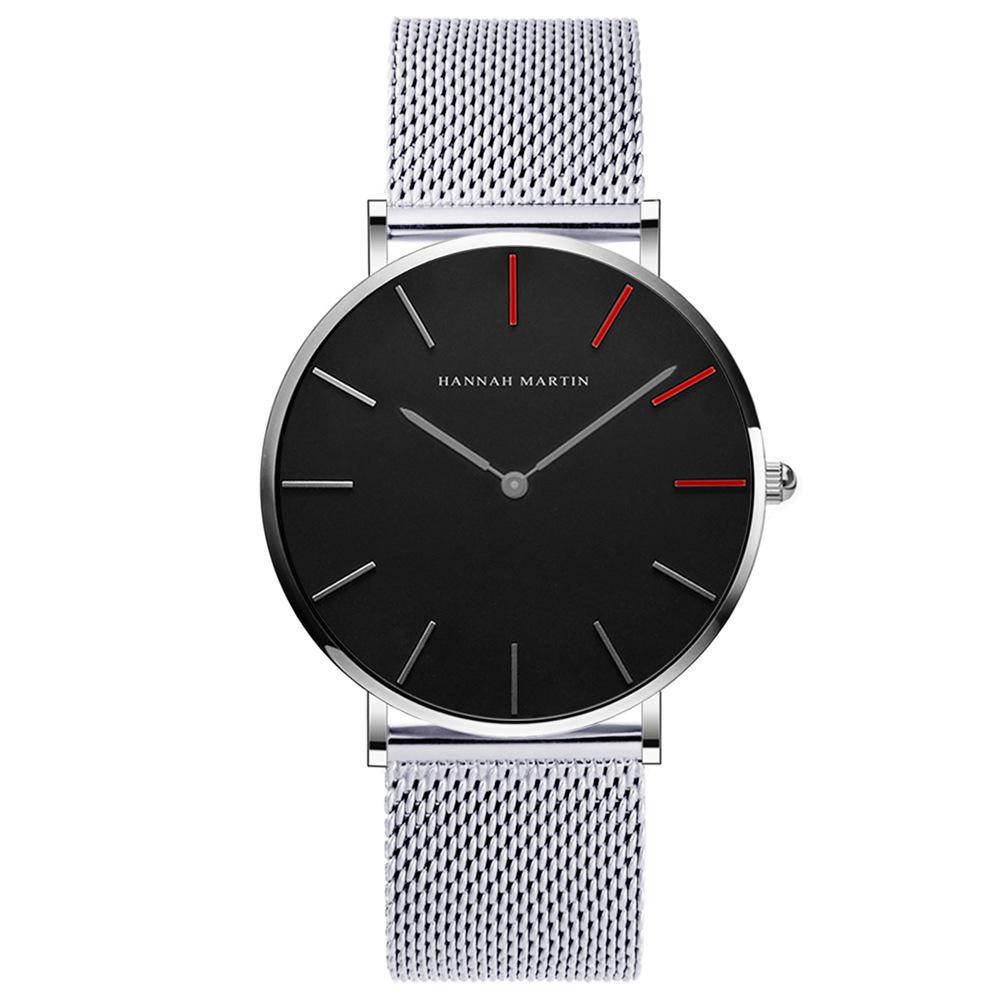 HANNAH MARTIN 精彩人生無秒針設計腕錶-黑錶盤x銀色刻度/36mm @ Y!購物
