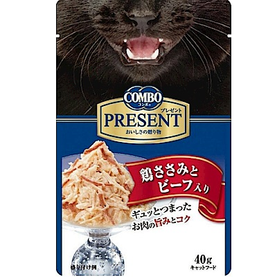 【任選】COMBO PRESENT 吻饌蒸煮食《雞肉+牛肉》40G