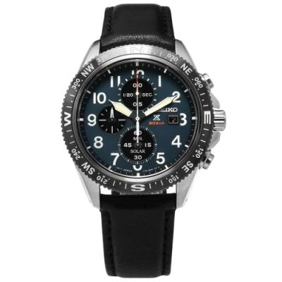 SEIKO 精工 PROSPEX 太陽能 三眼計時 防水牛皮手錶-藍x深灰框x黑/43mm