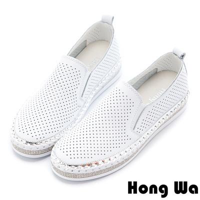 Hong Wa 特色造型貼鑽沖孔牛皮樂福鞋 - 白