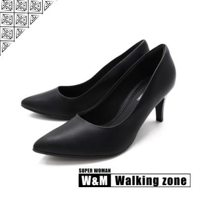 WALKING ZONE SUPER WOMAN系列 尖頭高跟上班淑女鞋 女鞋- 黑(另有藍.白.卡其)