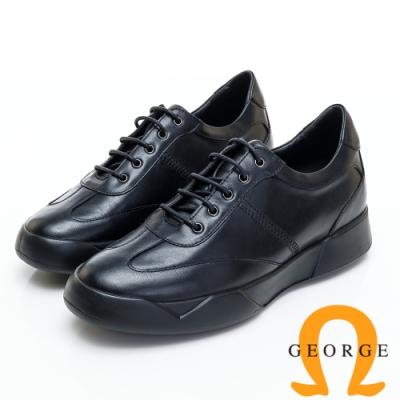 GEORGE 喬治皮鞋 內增高系列-厚底綁帶真皮休閒鞋-黑色