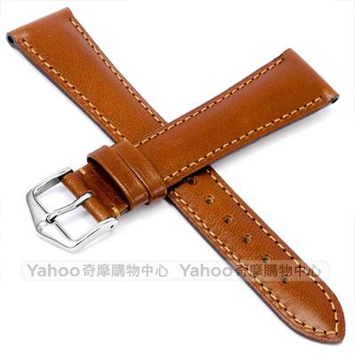 海奕施 HIRSCH Siena 典雅柔軟小牛皮錶帶 防水可清洗-淺棕