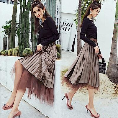 La Belleza兩面穿假兩件網紗拼接絲絨百褶裙光澤感大擺裙