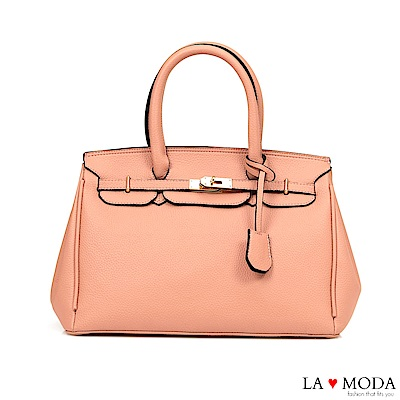 La Moda 氣質優雅風情超大容量凱莉包方包(粉)