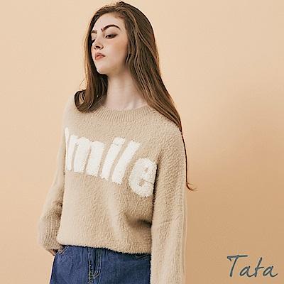 毛線字母毛海針織上衣 共二色 TATA