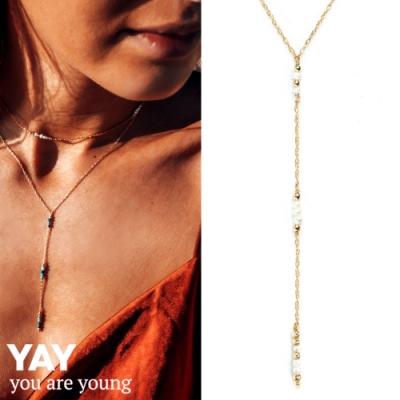 YAY You Are Young 法國品牌 Riviera 白色珍珠項鍊 金色Y字鍊