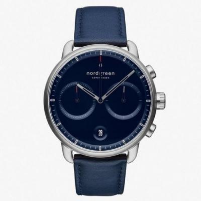 Nordgreen Pioneer   北歐藍錶盤 - 藍真皮錶帶42MM(PI42SILENANA)
