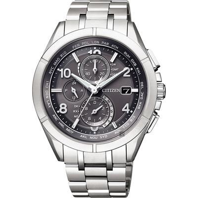 CITIZEN 星辰 光動能電波鈦金屬手錶-灰x銀/41mm AT8160-55H