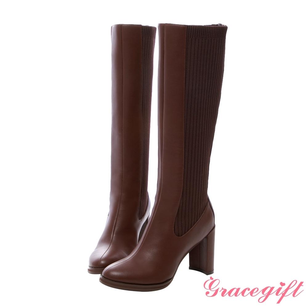 Grace gift X紀卜心-聯名拼接針織高跟長靴 深咖