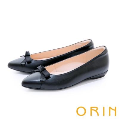 ORIN 織帶蝴蝶結真皮尖頭 女 平底鞋 黑色