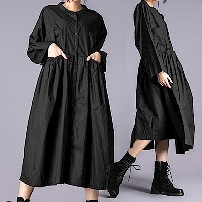 抽繩緞帶皺褶口袋寬版洋裝-(共二色)Andstyle