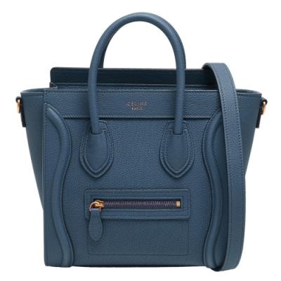 CELINE NANO Luggage小牛皮微笑冏臉手提/斜背包(灰藍)
