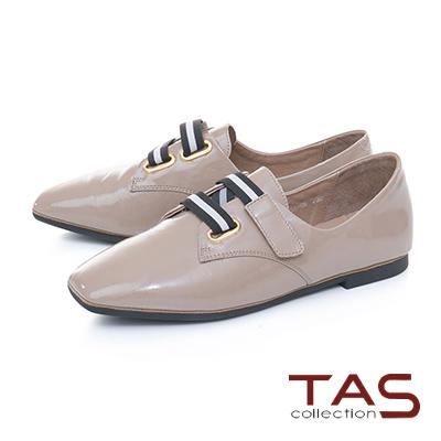 TAS寬版黑白繫帶素面漆皮牛津鞋-成熟灰