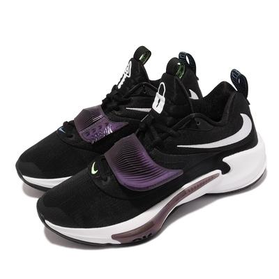 Nike 籃球鞋 Zoom Freak 3代 EP 運動 男鞋 希臘怪物 字母哥 氣墊 避震 包覆 黑 白 DA0695-001