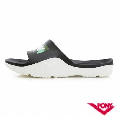 【PONY】輕量抗菌防臭防滑運動拖鞋 涼鞋 男鞋 女鞋   黑/綠彩