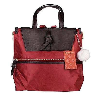Kanana卡娜娜 多功能尼龍拼接皮革小型手提後背兩用包-橘紅色