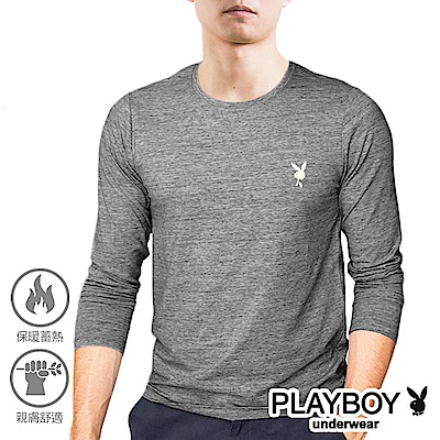 PLAYBOY 刷毛蓄熱短絨保暖長袖衫-單件
