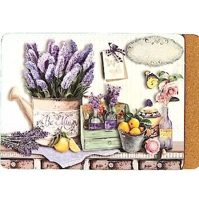 進口軟木塞中餐墊29*21.5cm-淡紫花藝(1入)