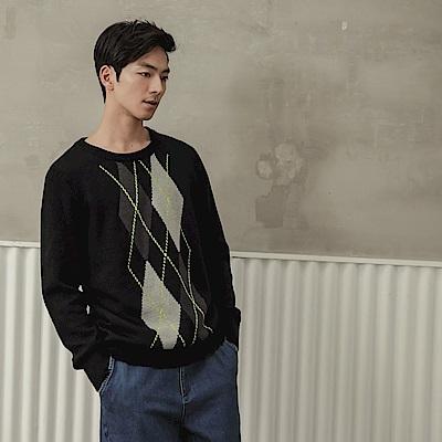 針織菱形織紋設計長袖上衣-OB大尺碼