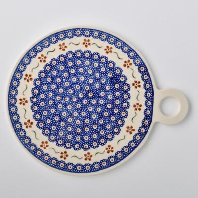 波蘭陶 紅點藍花系列 圓形呈菜盤 22.8x27.5 cm 波蘭手工製