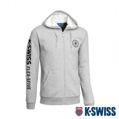 K-SWISS Branding Logo刷毛連帽外套-男-淺灰