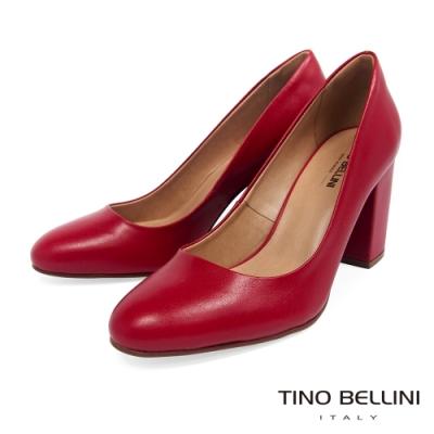 Tino Bellini 巴西進口素雅氣質圓頭粗跟鞋-紅
