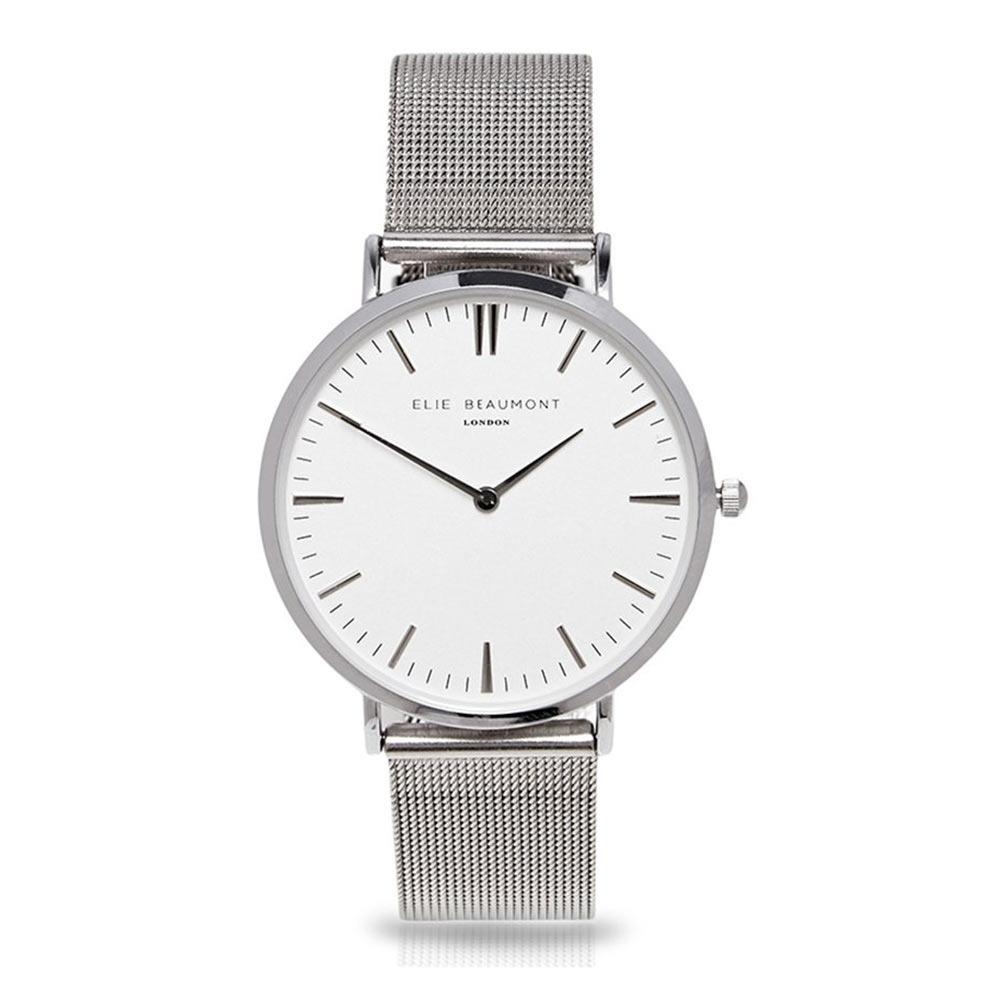 Elie Beaumont 英國時尚手錶 牛津米蘭錶帶系列 白錶盤x銀色錶帶錶框33mm