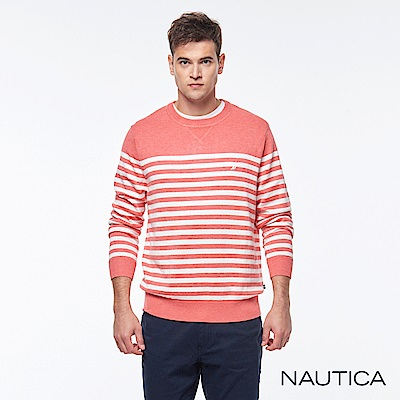 Nautica 清新海洋風條紋針織衫 -橘色