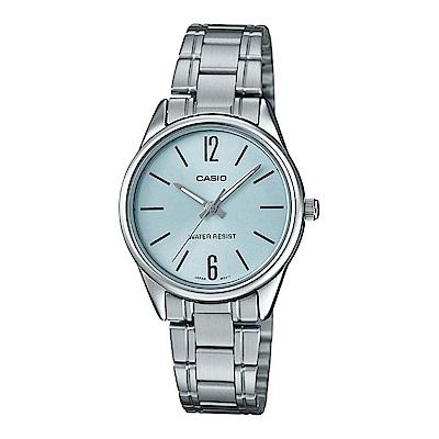 CASIO 時尚簡約12與6顯示時刻女錶-水藍面 (LTP-V005D-2B)/30mm