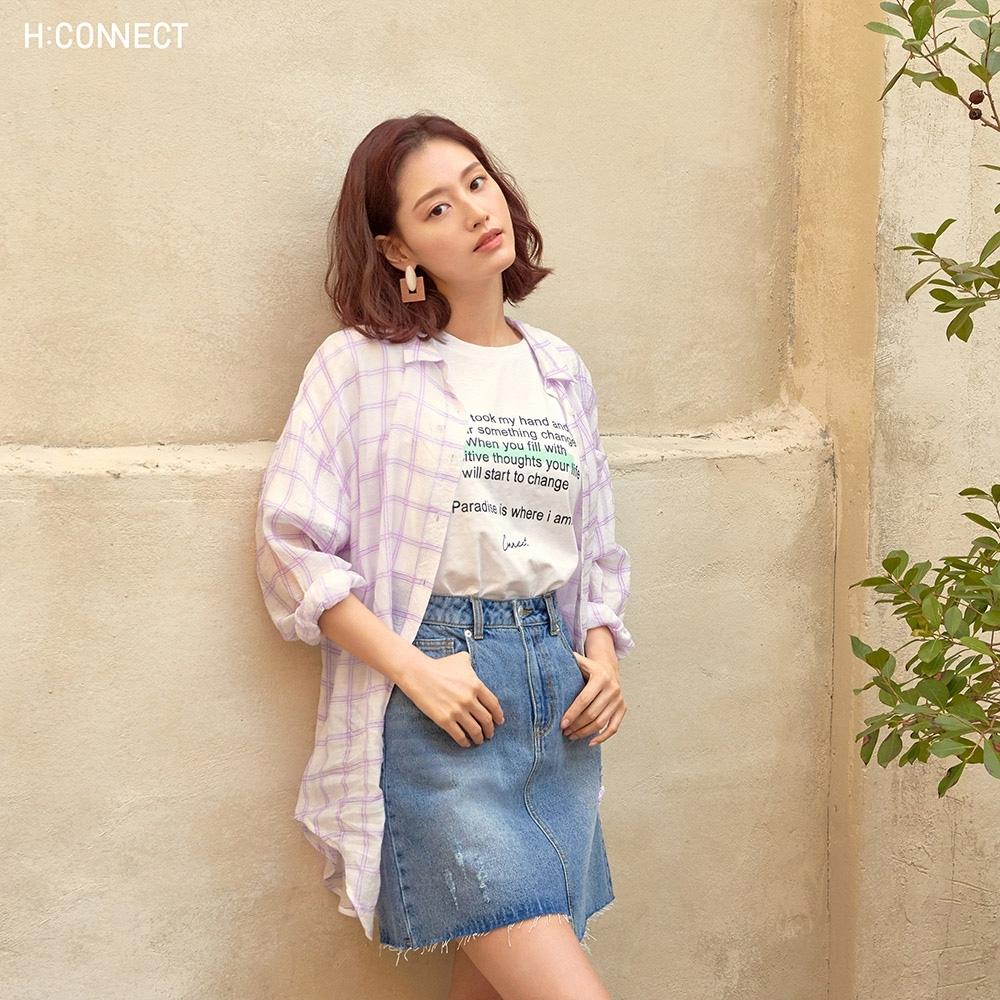 H:CONNECT 韓國品牌 女裝-意境標語圓領T-shirt-白