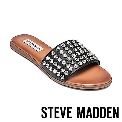 STEVE MADDEN-FIREWORK 歐美精緻水鑽一字拖鞋-黑色