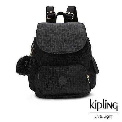 Kipling黑色幾何紋路拉鍊掀蓋後背包-CITY PACK S