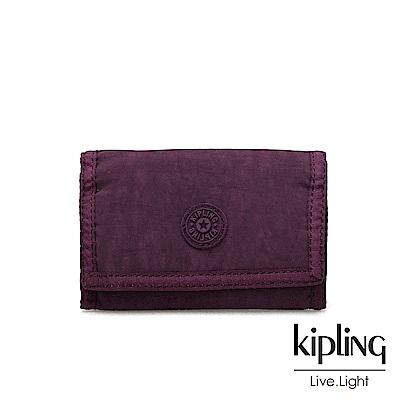Kipling 深紫素面多夾層短夾-MICKYLINA