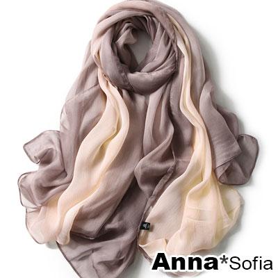 AnnaSofia 霓彩漸層 仿蠶絲大尺寸披肩絲巾圍巾(咖橙系)