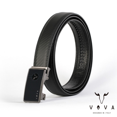 VOVA - 商務紳士鋼琴鏡面自動扣皮帶 - 鎢鋼色