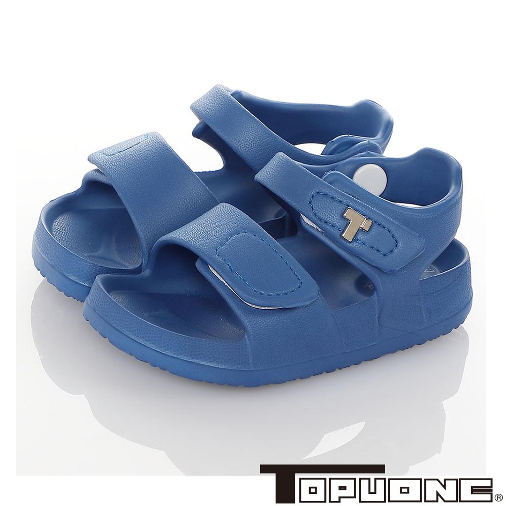 TOPUONE童鞋 防水極輕量吸震腳床型休閒涼鞋-寶藍