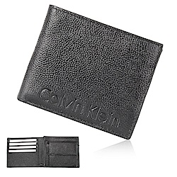 Calvin Klein 經典壓紋LOGO零錢袋短夾-黑色