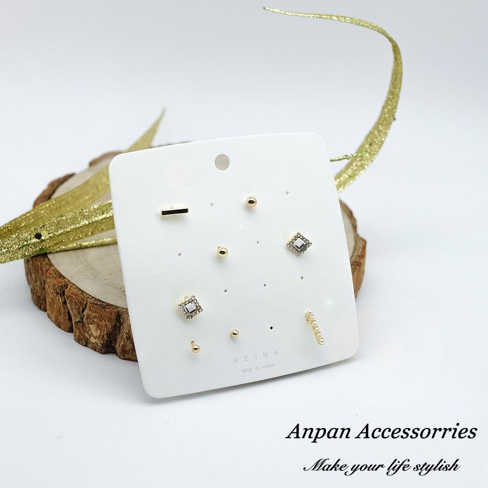【3件58折/ANPAN愛扮】韓東大門百搭水鑽珍珠925銀耳針式耳環套組