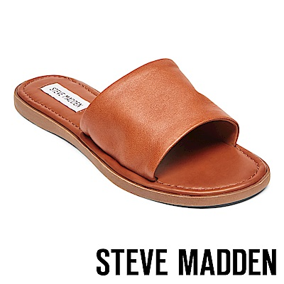 STEVE MADDEN-CAMILLA 真皮皮革一字拖鞋-咖啡