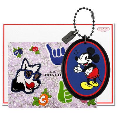 COACH Disney藍色MICKEY造型吊+COACH Disney狗狗立體泡棉貼紙