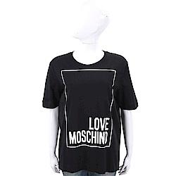 LOVE MOSCHINO 方框字母黑色寬版棉質T恤