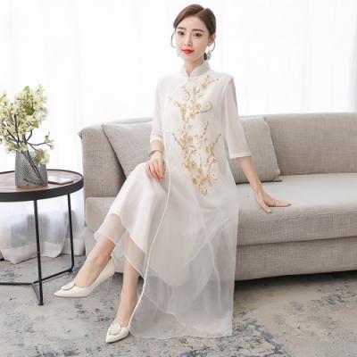 清新淡雅小立領改良式旗袍洋裝M-3XL(共二色)-REKO