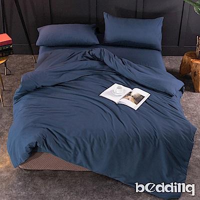 BEDDING-活性印染日式簡約純色系雙人薄式床包枕套三件組-軍藍色