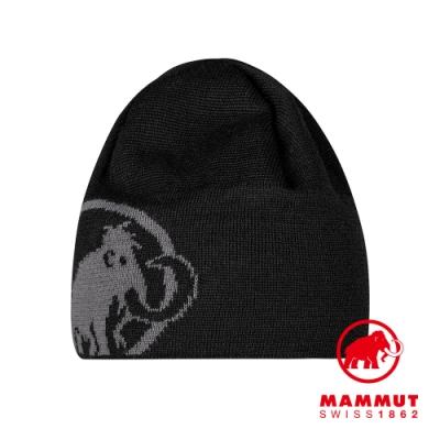 【Mammut 長毛象】Tweak Beanie 保暖針織LOGO羊毛帽 黑/鈦金灰 #1191-01352