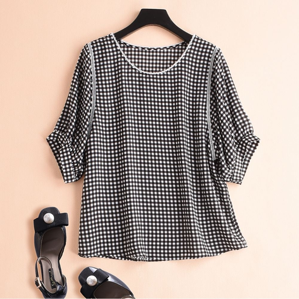 La Belleza領口花邊領雙條白色編織壓條時尚小格子五分袖上衣