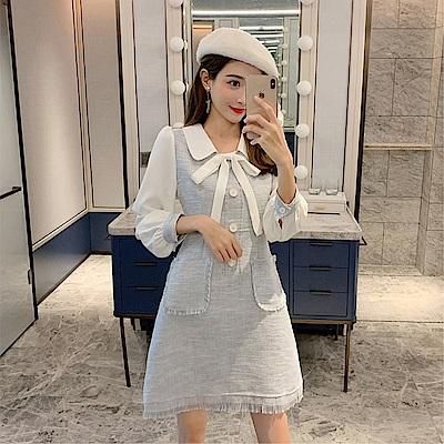 DABI 韓系小香風氣質撞色拼接時尚顯瘦長袖洋裝